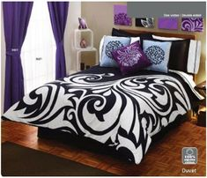 Google Image Result for http://3.bp.blogspot.com/-pkaiXky4TKo/T51rkWPHL3I/AAAAAAAABtk/iYHzndKedxw/s1600/black-white-purple-bedroom-set.jpg
