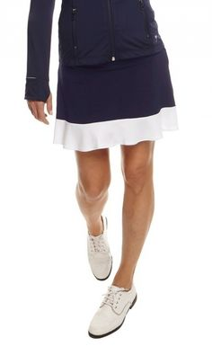 Navy with White Golftini Ladies Ambitious Pull On Tech Golf Skort available at #lorisgolfshoppe