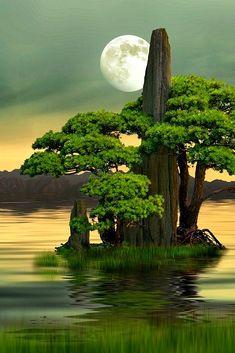 "275jesuss: "" Moon rising 月升 by Moor Zhu art, landscapes, mountain, Lake, Moon, Reflections """