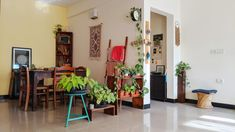 Jayati and Manali share their home tour as the science home décor - The dinning room are decorated with wall hanging table runner, indoor green plants, frames and vintages Ethnic Home Decor, Indian Home Decor, Indian Room, Indoor Green Plants, Teen Wall Decor, Room Interior Design, Interior Designing, Interior Ideas, Apartment Interior