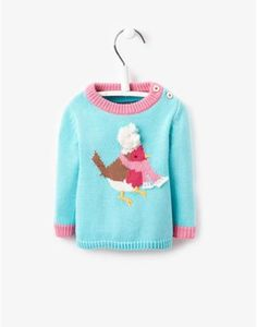Joules Baby Girls Intarsia Jumper, Aqua. What's cuter than a robin in scarf? A robin in a scarf sitting on a super-soft jumper. Especially when the jumper is complete with contrast trims and a button shoulder for easy-on and easy-off.
