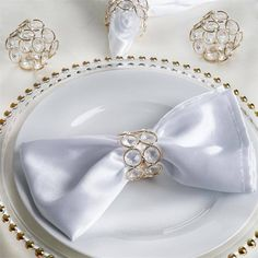 Dress up your Wedding Table with Crystal Embedded Napkin Rings from efavormart. Find Crystal, Wooden, Gold and Silver plated napkin rings in a variety of styles.