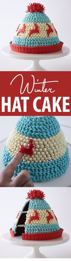 Knitted Winter Hat Cake - adorable Christmas dessert you can make at home. Your guests will love it! Christmas Pudding, Christmas Sweets, Christmas Baking, Christmas Cakes, Cupcakes, Cupcake Cakes, Shoe Cakes, Mini Tortillas, Winter Torte