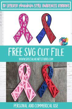 Free Svg Cut Files, Svg Files For Cricut, Cricut Tutorials, Cricut Ideas, Cricut Craft Room, Awareness Ribbons, Cricut Creations, Svg Cuts, Vinyl Projects