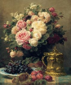 Jean Baptiste - Still LIfe w roses, grapes on a plate and tankard