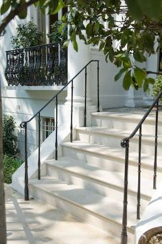natural stone steps masoned from york stone and portland stone. Masoned stonework front door steps, patio flagstones and paving, add elegance with natural stone steps Porch Handrails, Exterior Stair Railing, Outdoor Stair Railing, Wrought Iron Stair Railing, Patio Stairs, Hand Railing, Metal Handrails, Metal Railings, Banisters