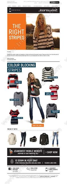 Company:  Jeanswest Subject:  The right stripes- It's colour blocking made easy!                INBOXVISION providing email design ideas and email marketing intelligence.    www.inboxvision.com/blog/  #EmailMarketing #DigitalMarketing #EmailDesign #EmailTemplate #InboxVision  #SocialMedia #EmailNewsletters