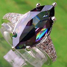 Diamonds- a girl's best friend Topaz Gemstone, Topaz Ring, Mystic Fire Topaz, Family Jewels, White Topaz, Jewelry Shop, Silver Rings, Marquise Cut, Gemstones