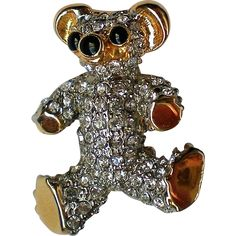 Sparkling Rhinestone Teddy Bear Pin. Vintage Jewelry under $25 at Ruby Lane @Ruby Lane