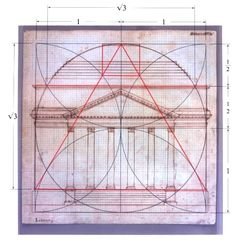 Jeffersonian Architectural Details | Geometrical figures overlaid on an architectural drawing