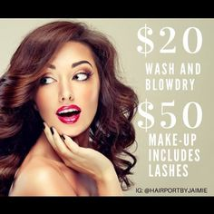 For the Whole month of FEBRUARY Jaimie is spreading some love by giving a $20 wash and blow dry instead of $45!! With $50 make up including lashes! So don't fuss about your special date on VALENTINES DAY let her do all the fussing for you with a complimentary Fizz on the side. Book your appointments now! (VALENTINES DAY FILLS UP QUICK) call or text 619-337-4376.  @hairportbyjaimie