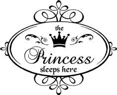 Vinyl Quote-The princess Sleeps Here-Special buy by vinylforall Silhouette Projects, Silhouette Design, Silhouette Cameo, Shabby, Vinyl Quotes, Silhouette Portrait, Tampons, Vintage Labels, Transfer Paper