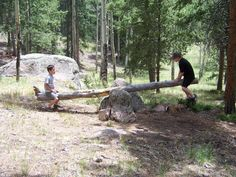 Things to do while camping.....make a  teeter totter!