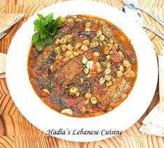 My Mom& Lebanese Moussaka (maghmour). A velvety vegetarian eggplant stew with chickpeas, garlic , onions, tomatoes and dried mint. Vegetable Side Dishes, Vegetable Recipes, Vegetarian Recipes, Healthy Recipes, Middle East Food, Middle Eastern Recipes, Mediterranean Dishes, Mediterranean Diet Recipes, Lebanese Recipes