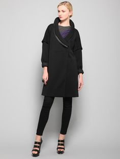 Heavy Double Knit Wool Jersey Coat With Portrait Collar