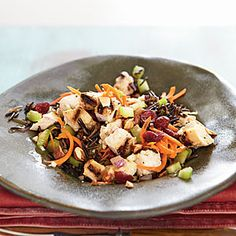 Dazzle up your leftover chicken with this easy salad. The fig vinegar takes this dressing to a spectacular, unique level, but if you can't find it, you can substitute white wine vinegar. View Recipe: Chicken and Wild Rice Salad with Almonds Rice Salad Recipes, Wild Rice Salad, Chicken And Wild Rice, Cooking Recipes, Healthy Recipes, Meal Recipes, What's Cooking, Turkey Recipes, Yummy Recipes