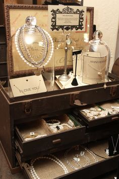 The best part about this vintage display idea is that you can use the trunk to pack up a lot of the items, and you are on your way to the next show!