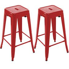 Set of 2 Metal Steel Bar Stools Vintage Antique Style Counter Bar Stool Red