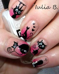 Nailpolis Museum of Nail Art | Love cats by Iulia