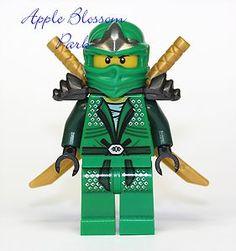 New Lego Ninjago Green Ninja Minifig Lloyd ZX Minifigure w 2 Gold Swords 9450 | eBay