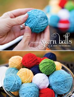 DIY Decor Tutorial: Playful Yarn Balls - I think these would make great cat toys...