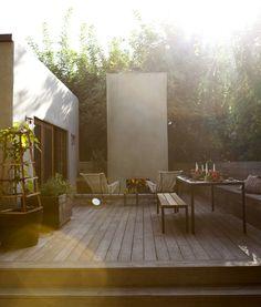 Home - Outdoor Rooms - modern wood deck, lounge chairs and outdoor fireplace Outdoor Rooms, Outdoor Gardens, Outdoor Living, Outdoor Decor, Outdoor Decking, Design Exterior, Interior And Exterior, Exterior Doors, Interior Ideas