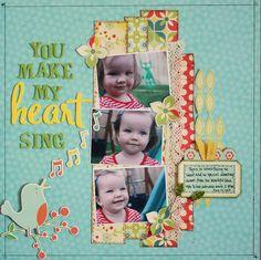 #papercraft #scrapbook #layout. *One Scrappin' Mama Scrapbook Layout {you make my heart sing}