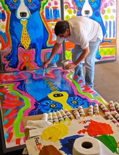At work in the studio on September 15, 2009.    Cool!  Blue Dog, George Rodrigue