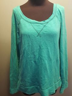 Aerie Teal Green Scoop Neck Cotton Polyester Terry Lined Casual Sweatshirt M Euc #Aerie #Sweatshirt #Casual $12