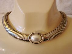 Vintage Silver Tone Snake Chain Pearl Cabochon by joysshop on Etsy, $14.95