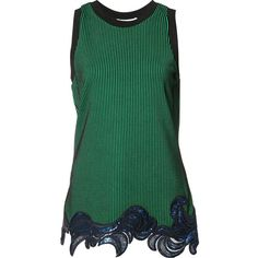 3.1 Phillip Lim Sequin Embroidered Tank Top (1.190 BRL) ❤ liked on Polyvore featuring tops, jet, kirna zabete, kzloves, ready, set, embroidered tank, green top, embroidered tank top and green sequin tank top