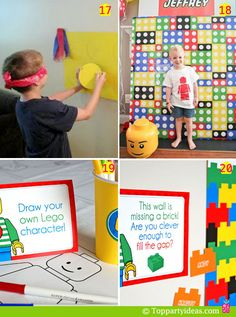 party games, including fill in the missing shape and pin the dot on the lego; Lego Birthday Party, 6th Birthday Parties, Boy Birthday, Birthday Ideas, Lego Ninjago, Lego Party Games, Lego Parties, Lego Party Favors, Lego Friends