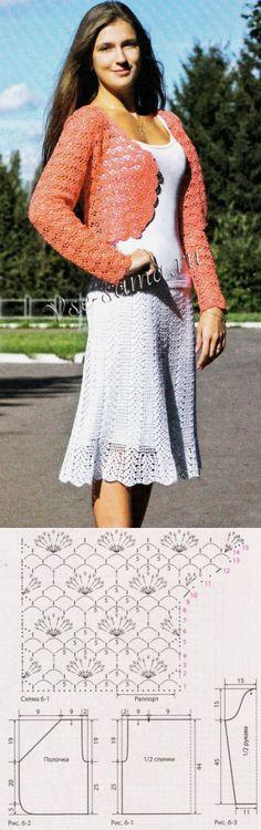 Красное ажурное болеро - Болеро крючком // любовь чайкина Crochet Woman, Crochet Top, Crochet Vests, Jacket Pattern, Lace Skirt, Shawl, Crochet Patterns, Knitting, Skirts