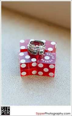 We love this photo of the rings atop the dice - perfect for a Vegas style wedding!