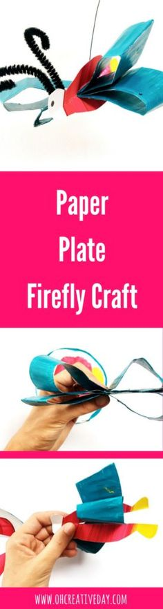 This paper plate firefly craft is the perfect accompaniment to a reading of Eric Carle's The Very Lonely Firefly. Paper Crafts For Kids, Easy Crafts For Kids, Book Crafts, Art For Kids, Creative Activities For Kids, Kids Learning Activities, Fireflies Craft, The Very Busy Spider, Kids Collage