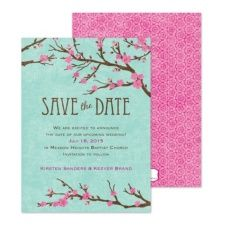 """What's more romantic than flowers? Set the tone for your wedding with these """"Cherry Blossoms Save the Date"""" cards. #wedding #inspiration #savethedates"""