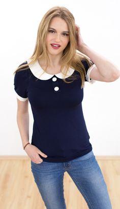 Tops - Shirt Jessy in dunkelblau - ein Designerstück von Shoko bei DaWanda