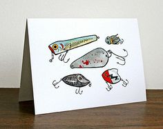 Fishing Lures Card - whimsical illustrated notecard