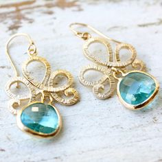 lotus pool earrings