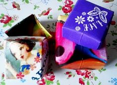 Tutorial: make little paper boxes out of old greetings cards