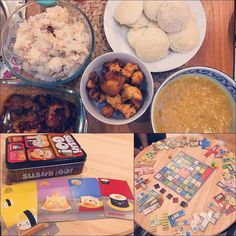 Transcontinental dining and board games make for a fun Sunday night! Punu's amazing congee and gochuchang grilled chicken  idli pakoras and sambhar. #MangiaBene #TalesFromNW #HomeMade #Weekend