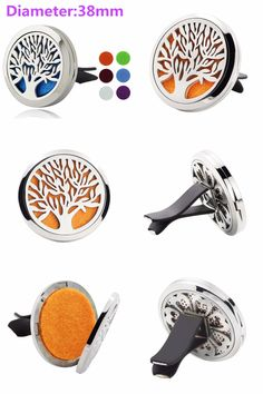 [Visit to Buy] 38mm Tree of Life Magnet Diffuser Stainless Steel Car Aroma Locket Free Pads Essential Oil Car Diffuser Lockets With 6 Pads #Advertisement