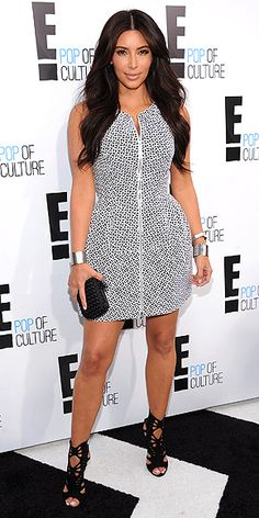 KIM KARDASHIAN  Hip check! Kim flaunts her figure at the E! Network upfronts presentation in N.Y.C. with a printed, zip-up dress, serious heels and silver cuffs.