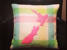 NZ map blanket cushion - Neon Pink Kiwi Love from Felt Re - Pinned by The Vintage Traveler NZ