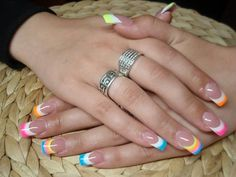 Classic French nails with color cute for Easter or something? - Classic French nails with color cute for Easter or something? French Nails, French Manicure Nails, Gel Nails, Acrylic Nails, French Nail Designs, Ombre Nail Designs, Best Nail Art Designs, Pretty Nail Colors, Pretty Nails