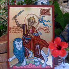 Riding a snow lion Dorje Shugden in byzantine style