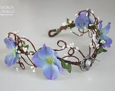 elven bride tiara - elven tiara - elvish crown - fairy circlet Made by order . We try to make the piece like the one on the photo, but as handmade creation could have some little changes . Elven Princess, Princess Tutu, Flower Tiara, Flower Crowns, Woodland Flowers, Fairy Crown, Bride Tiara, Romantic Flowers, Floral Headpiece