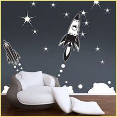 outer space bedrooms - decorate solar system bedrooms - boys space bedroom decorating - rocket murals - alien murals - astronaut wall murals - planets, moon, stars, outer space themed decorating ideas - galaxy alien decorating - Space room theme ideas - robot bedroom