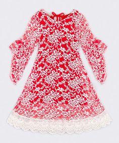 Look at this #zulilyfind! Red & Creme Floral Casey Dress - Toddler & Girls #zulilyfinds