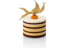 Mango/passionfruit mousse, coconut mousse, vanilla sponge, dark chocolate stripes, cape gooseberry (physalis).